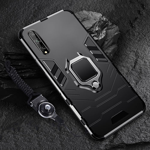 Silicone Matte Finish and Plastic Back Cover Case with Magnetic Finger Ring Stand S01 for Huawei Enjoy 10S Black