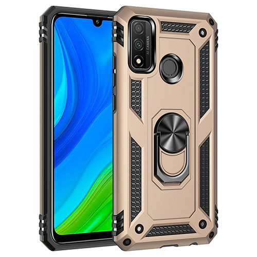 Silicone Matte Finish and Plastic Back Cover Case with Magnetic Finger Ring Stand S01 for Huawei P Smart (2020) Gold