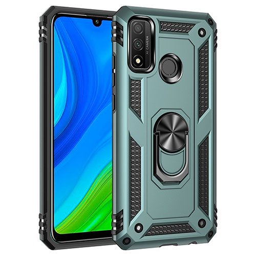 Silicone Matte Finish and Plastic Back Cover Case with Magnetic Finger Ring Stand S01 for Huawei P Smart (2020) Green