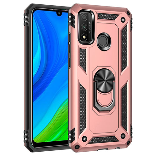 Silicone Matte Finish and Plastic Back Cover Case with Magnetic Finger Ring Stand S01 for Huawei P Smart (2020) Rose Gold