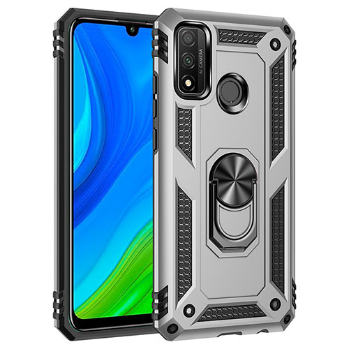 Silicone Matte Finish and Plastic Back Cover Case with Magnetic Finger Ring Stand S01 for Huawei P Smart (2020) Silver