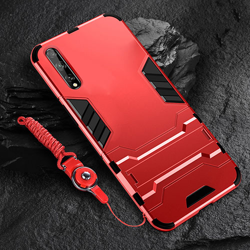Silicone Matte Finish and Plastic Back Cover Case with Stand for Huawei Enjoy 10S Red