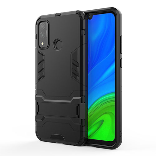 Silicone Matte Finish and Plastic Back Cover Case with Stand for Huawei P Smart (2020) Black