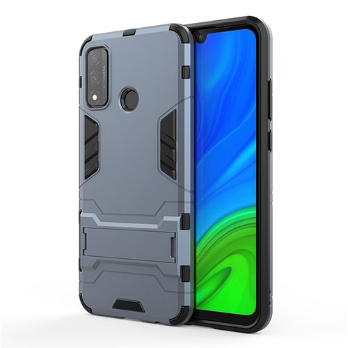 Silicone Matte Finish and Plastic Back Cover Case with Stand for Huawei P Smart (2020) Blue