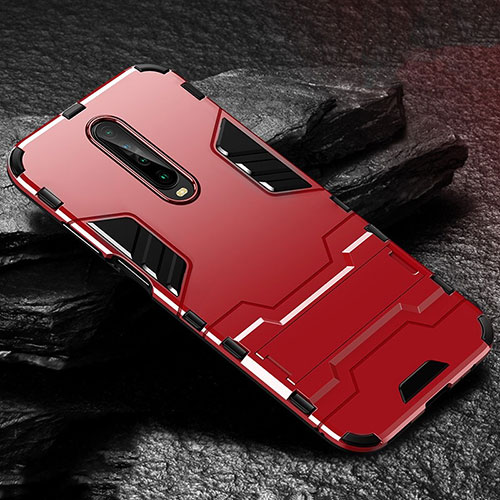 Silicone Matte Finish and Plastic Back Cover Case with Stand for Xiaomi Redmi K30 5G Red