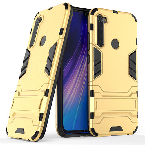 Silicone Matte Finish and Plastic Back Cover Case with Stand for Xiaomi Redmi Note 8 Gold