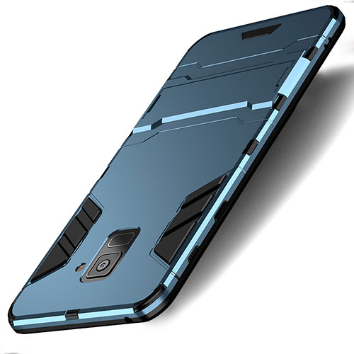 Silicone Matte Finish and Plastic Back Cover with Stand for Samsung Galaxy A8 (2018) A530F Cyan