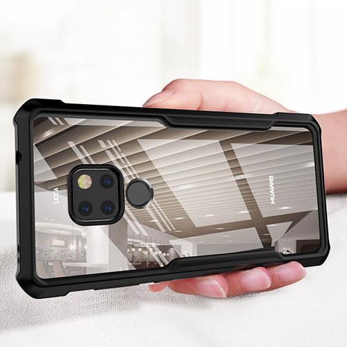 Silicone Transparent Mirror Frame Case 360 Degrees for Huawei Mate 20 Black