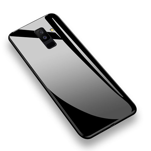 Silicone Transparent Mirror Frame Case 360 Degrees T02 for Samsung Galaxy A6 Plus Black