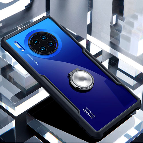 Silicone Transparent Mirror Frame Case 360 Degrees with Magnetic Finger Ring Stand for Huawei Mate 30 Pro 5G Black
