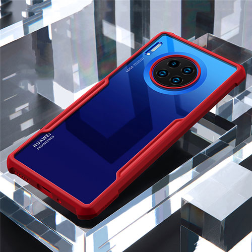 Silicone Transparent Mirror Frame Case Cover for Huawei Mate 30 Pro 5G Red