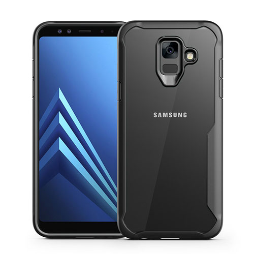 Silicone Transparent Mirror Frame Case Cover for Samsung Galaxy A6 (2018) Dual SIM Black