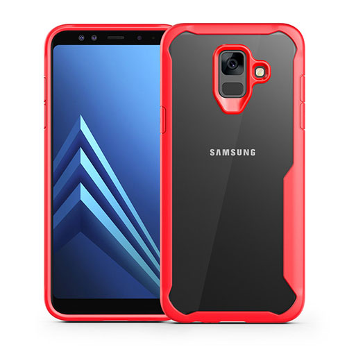 Silicone Transparent Mirror Frame Case Cover for Samsung Galaxy A6 (2018) Dual SIM Red