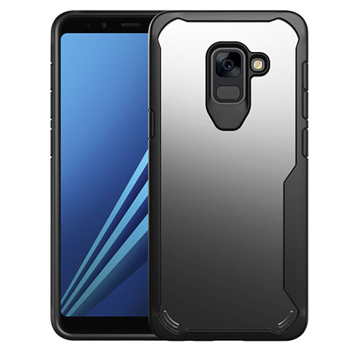 Silicone Transparent Mirror Frame Case Cover for Samsung Galaxy A8+ A8 Plus (2018) A730F Black