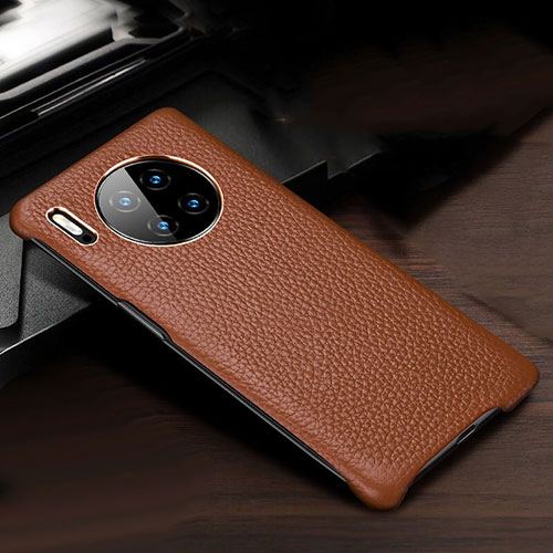 Soft Luxury Leather Snap On Case Cover for Huawei Mate 30 Pro 5G Brown
