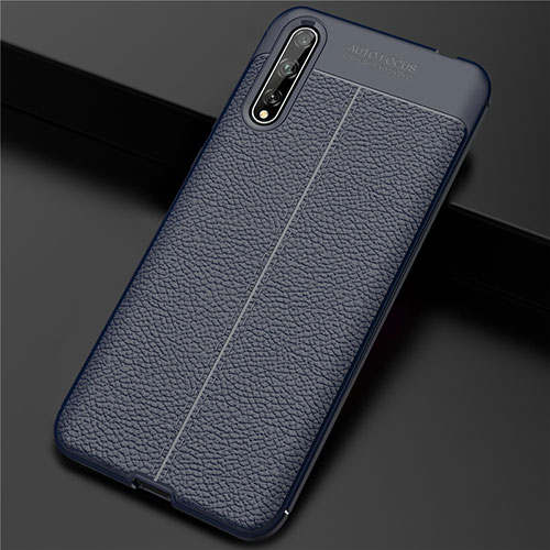 Soft Luxury Leather Snap On Case Cover S01 for Huawei Enjoy 10S Blue