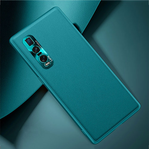 Soft Luxury Leather Snap On Case Cover U01 for Oppo Find X2 Pro Cyan