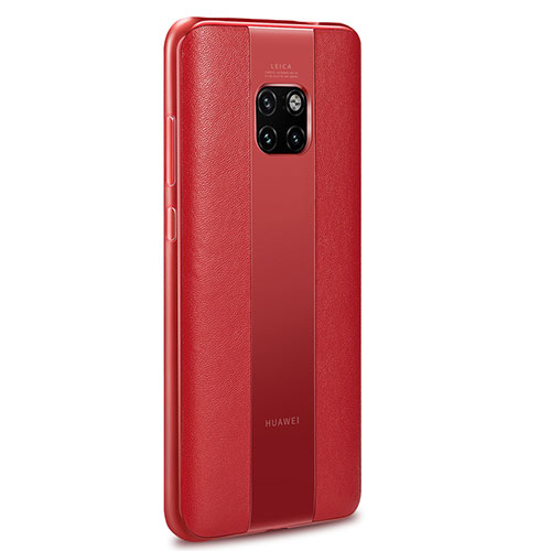 Soft Silicone Gel Leather Snap On Case Cover G01 for Huawei Mate 20 Pro Red