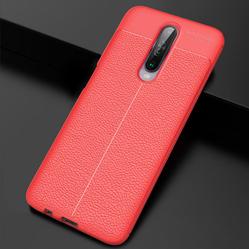 Soft Silicone Gel Leather Snap On Case Cover S04 for Xiaomi Redmi K30 5G Red