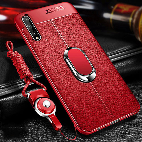 Soft Silicone Gel Leather Snap On Case Cover with Magnetic Finger Ring Stand for Huawei Enjoy 10S Red
