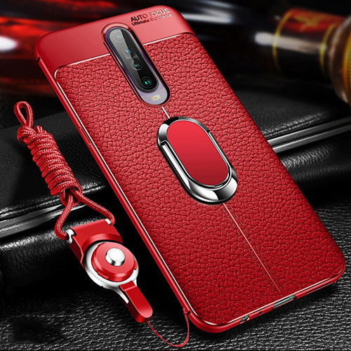 Soft Silicone Gel Leather Snap On Case Cover with Magnetic Finger Ring Stand S01 for Xiaomi Redmi K30 5G Red