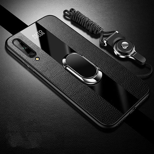 Soft Silicone Gel Leather Snap On Case Cover with Magnetic Finger Ring Stand S02 for Huawei Enjoy 10S Black