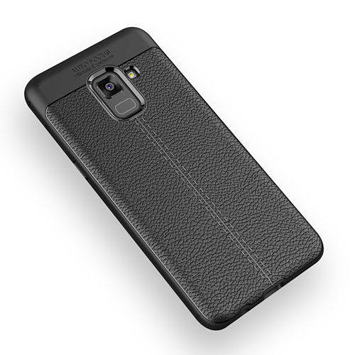Soft Silicone Gel Leather Snap On Case W01 for Samsung Galaxy A5 (2018) A530F Black