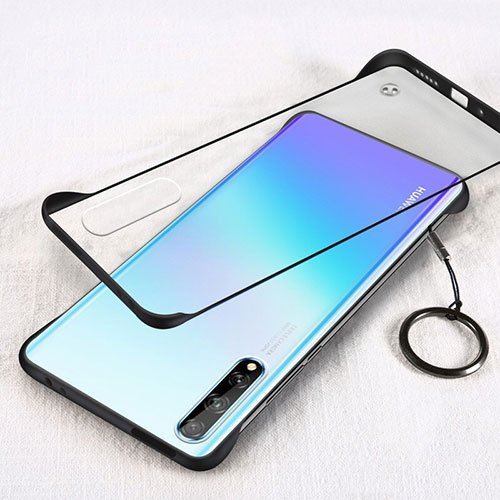 Transparent Crystal Hard Case Back Cover H01 for Huawei Y8p Black