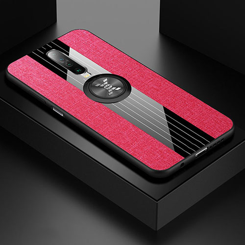 Ultra-thin Silicone Gel Soft Case Cover with Magnetic Finger Ring Stand A01 for Xiaomi Redmi K30 5G Hot Pink