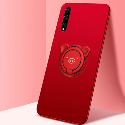 Ultra-thin Silicone Gel Soft Case Cover with Magnetic Finger Ring Stand A02 for Huawei Enjoy 10S Red
