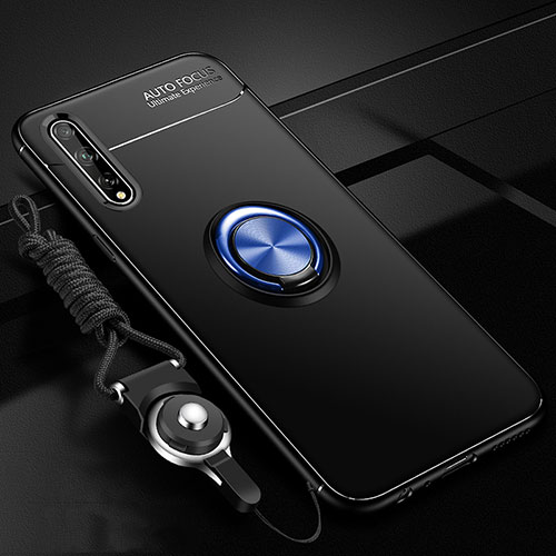 Ultra-thin Silicone Gel Soft Case Cover with Magnetic Finger Ring Stand for Huawei Enjoy 10S Blue and Black