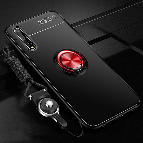 Ultra-thin Silicone Gel Soft Case Cover with Magnetic Finger Ring Stand for Huawei Enjoy 10S Red and Black