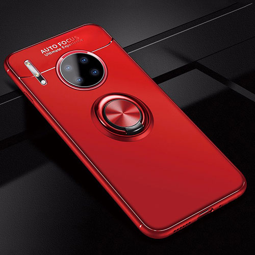 Ultra-thin Silicone Gel Soft Case Cover with Magnetic Finger Ring Stand for Huawei Mate 30 Pro 5G Red