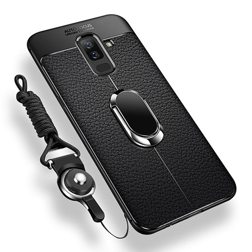 Ultra-thin Silicone Gel Soft Case Cover with Magnetic Finger Ring Stand for Samsung Galaxy A9 Star Lite Black
