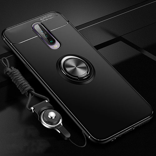 Ultra-thin Silicone Gel Soft Case Cover with Magnetic Finger Ring Stand for Xiaomi Redmi K30 5G Black