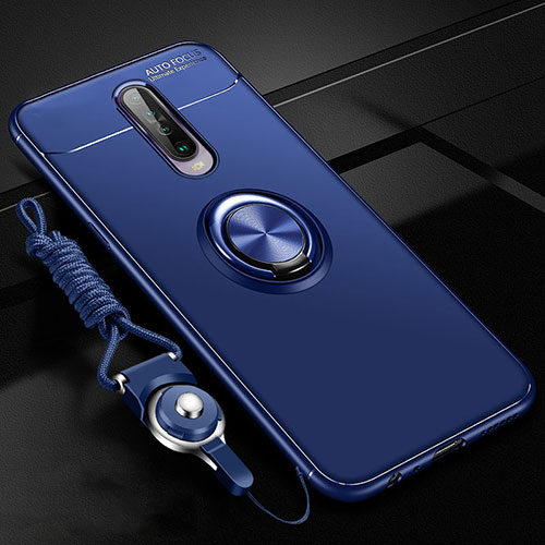 Ultra-thin Silicone Gel Soft Case Cover with Magnetic Finger Ring Stand for Xiaomi Redmi K30 5G Blue