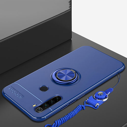 Ultra-thin Silicone Gel Soft Case Cover with Magnetic Finger Ring Stand for Xiaomi Redmi Note 8 Blue