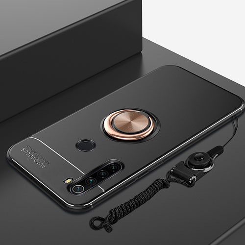 Ultra-thin Silicone Gel Soft Case Cover with Magnetic Finger Ring Stand for Xiaomi Redmi Note 8 Gold and Black