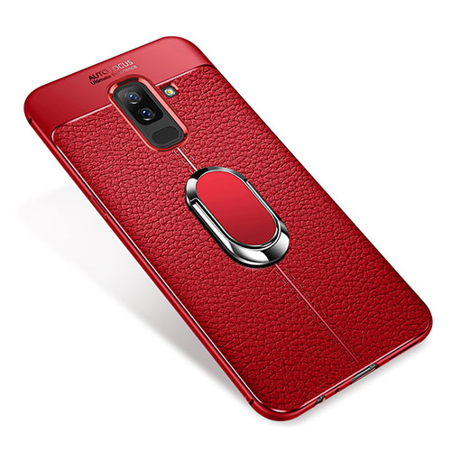 Ultra-thin Silicone Gel Soft Case Cover with Magnetic Finger Ring Stand S01 for Samsung Galaxy A6 Plus Red