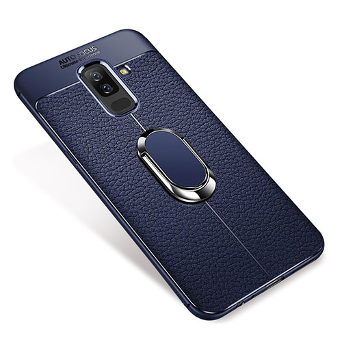 Ultra-thin Silicone Gel Soft Case Cover with Magnetic Finger Ring Stand S01 for Samsung Galaxy A9 Star Lite Blue