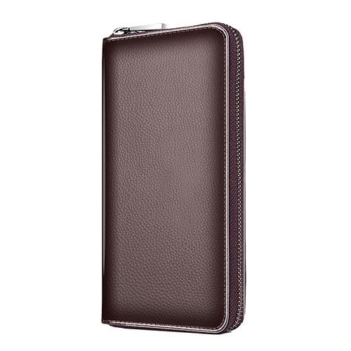 Universal Leather Wristlet Wallet Handbag Case K18 Brown