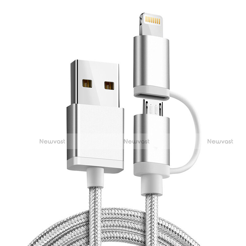 Charger Lightning USB Data Cable Charging Cord and Android Micro USB C01 for Apple iPhone SE (2020) Silver