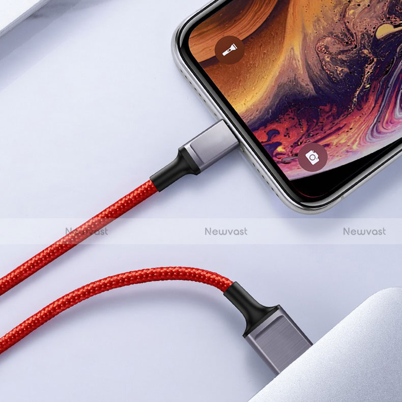 Charger USB Data Cable Charging Cord C03 for Apple iPhone SE (2020) Red