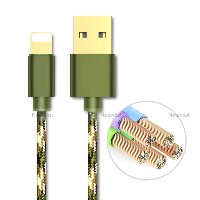 Charger USB Data Cable Charging Cord L03 for Apple iPhone SE (2020) Green