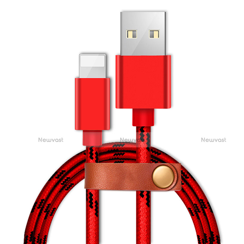 Charger USB Data Cable Charging Cord L05 for Apple iPhone SE (2020) Red