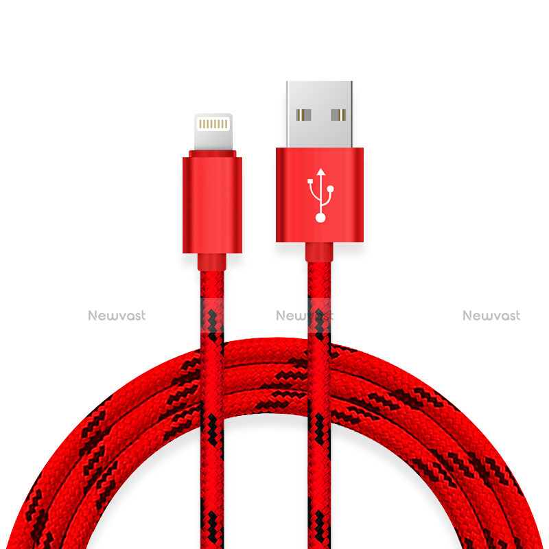 Charger USB Data Cable Charging Cord L10 for Apple iPhone SE (2020) Red