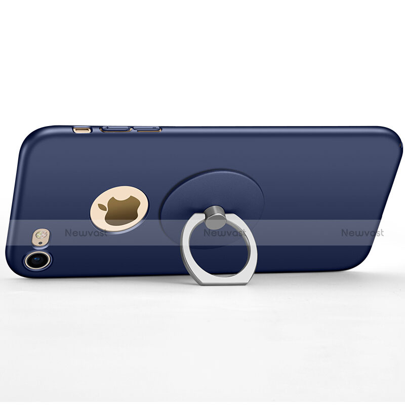 Hard Rigid Plastic Matte Finish Back Cover with Finger Ring Stand for Apple iPhone SE (2020) Blue