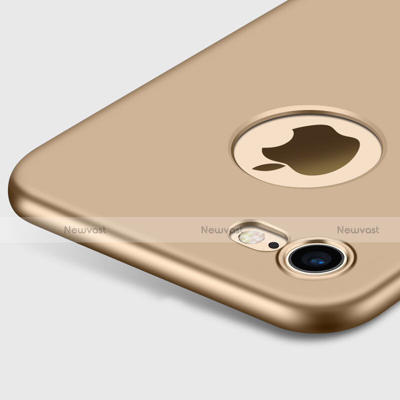 Hard Rigid Plastic Matte Finish Back Cover with Finger Ring Stand for Apple iPhone SE (2020) Gold