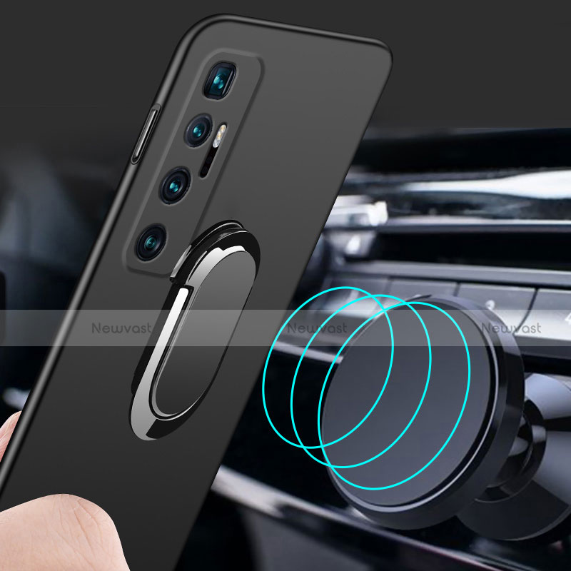Hard Rigid Plastic Matte Finish Case Cover with Magnetic Finger Ring Stand A01 for Xiaomi Mi 10 Ultra