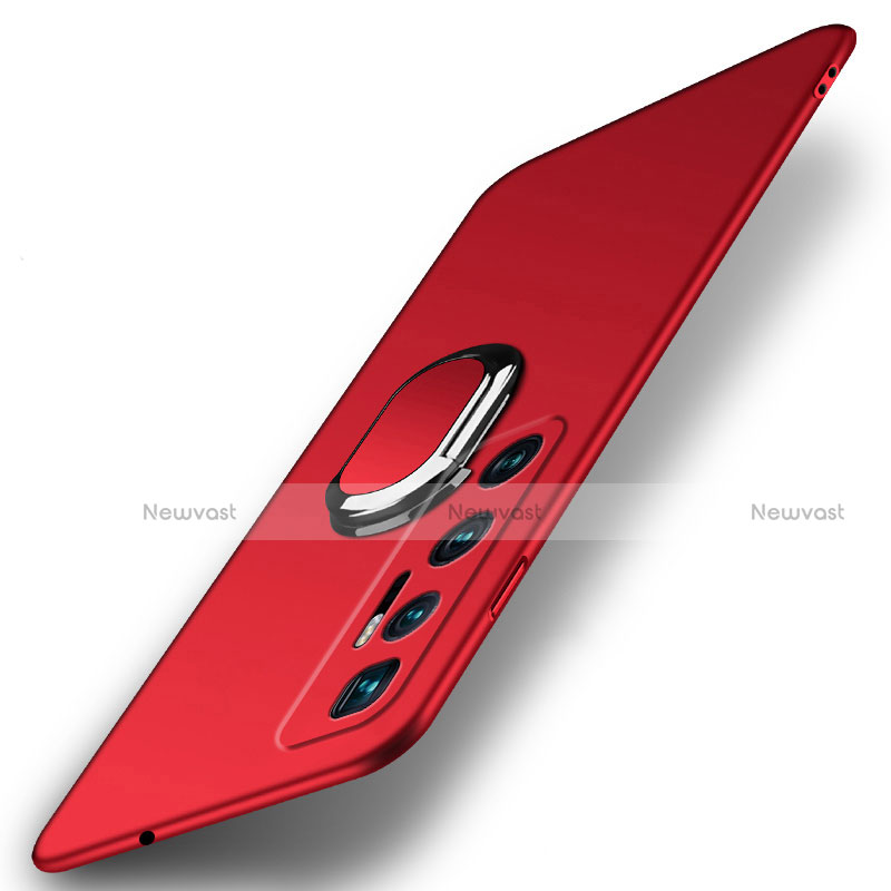 Hard Rigid Plastic Matte Finish Case Cover with Magnetic Finger Ring Stand A01 for Xiaomi Mi 10 Ultra Red